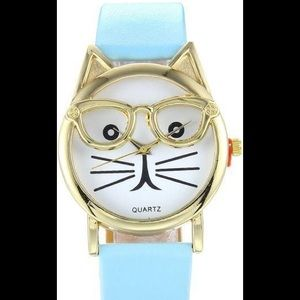 Woman's Cat with Glasses watch - Sky Blue